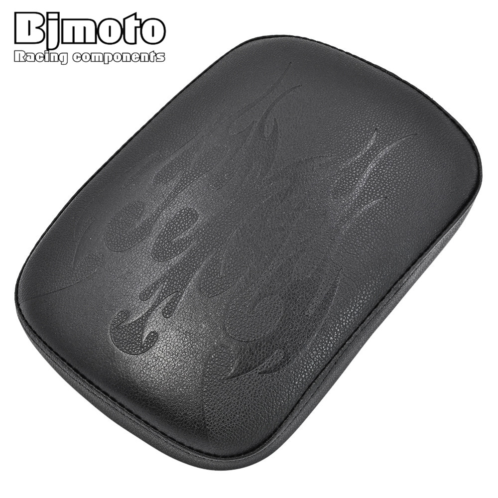 Bjmoto Universal Motorcycle Passenger flame blaze Cushion Pillion Seat Pad Suction Cups for Harley Cruiser Chopper Custom bjmoto motorcycle saddle bags pu leather saddlebag cruise vehicle side panniers tool bag for harley cruiser sportster