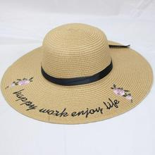 Fashion Protable Women Sun Hat Letter Embroidery Straw Plaited Hats Summer Beach Sunscreen Foldable Wide Large Brim Hat цена 2017