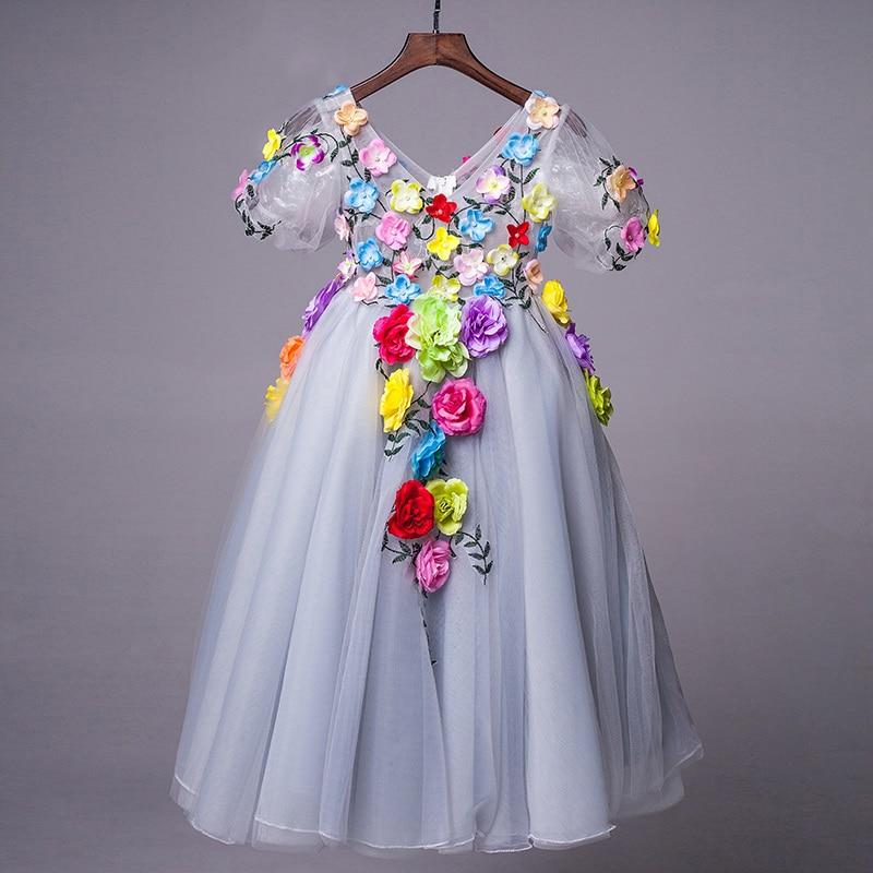 floral baby girls pageant dress for dancing costume short sleeve princess dress V-neck floor length flower girl dresses