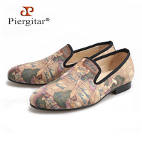 PIERGITAR/ручной работы мужские ткани обувь с Глобус печати Британский Дизайн мужские слипперы мужская повседневная обувь вечерние мужские лоф