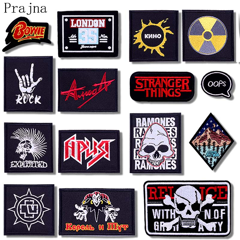 Prajna Hippie Skull Patch Iron On Rock Patch Joker Embroidered Patches For Clothes Jacket Fabric Applique Washable Badge Decor