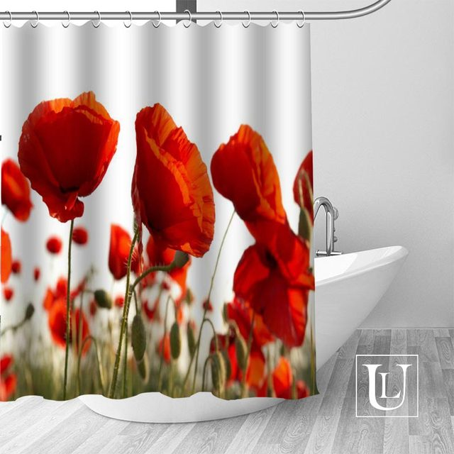 Waterproof Bathroom Curtains Modern Poppies Shower Curtain Polyester Bath Screens Customized