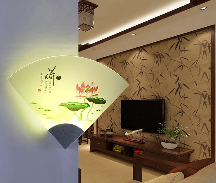 Chinese traditional landscape  painting image Modern Creative acrylic Fan Wall Lamp aluminum body 8W AC 85-265V Wall Light туфли instreet instreet in011awqqe37