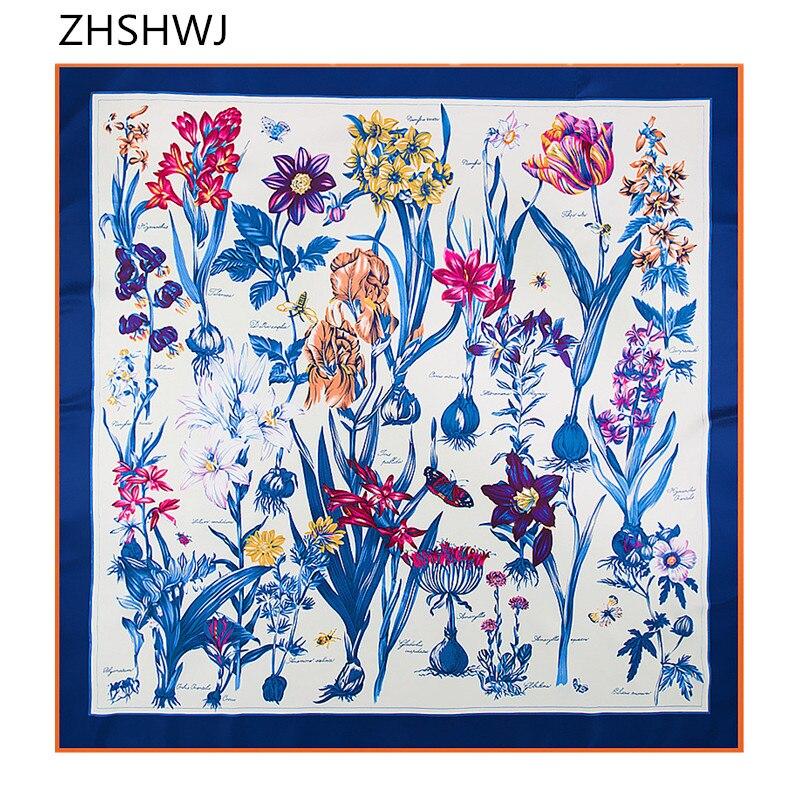 [ZHSHWJ] Autumn And Winter New 100% Silk 130cm * 130cm Heavy Twill Silk  Flower Hyacinth Pattern Women Scarf Free Shipping