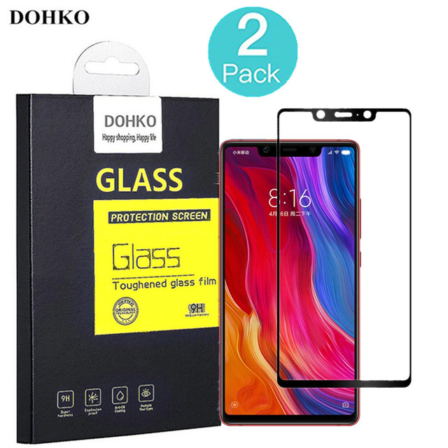 2 PACK DOHKO For xiaomi mi 8 Protective Tempered Glass 2.5D 0.26mm HD Full Cover Screen Protector For Xiaomi mi 8 SE original