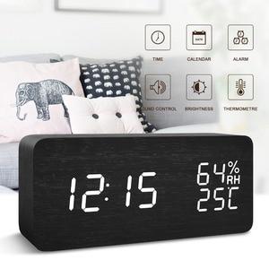 Image 3 - JINSUN Modern LED Alarm Clock Despertador Temperature Humidity Electronic Desktop Digital Table Clocks