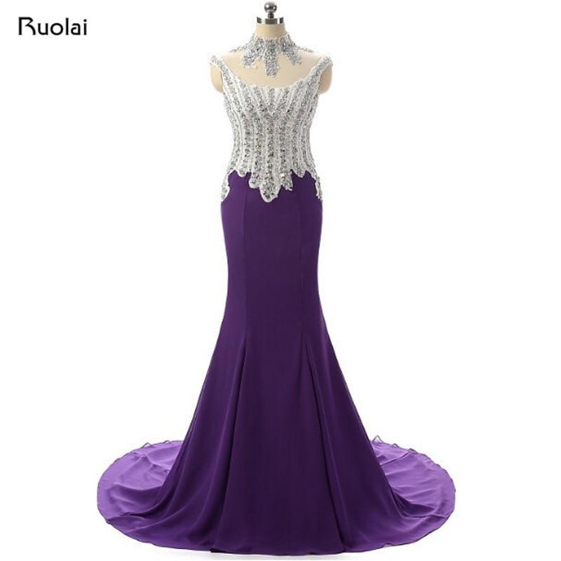 New Real Luxury Beaded Top High Neck Tulle Mermaid   Evening     Dress   Long Prom   Dress   Purple Formal   Dress   Vestido de Fiesta ASAE80