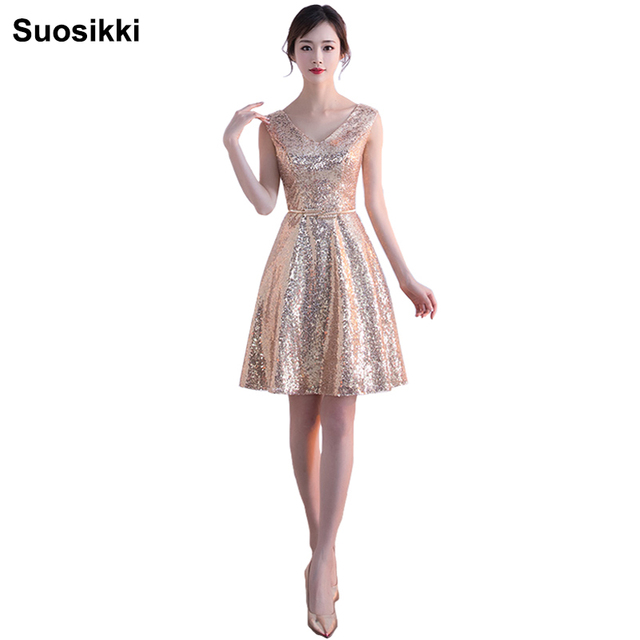 2018 Evening Dress Short Sequin Gold Evening Gowns V Neck A Line Vestidos  De Festa Night Special Occasion Dresses. 3 orders 0ef53eae8538