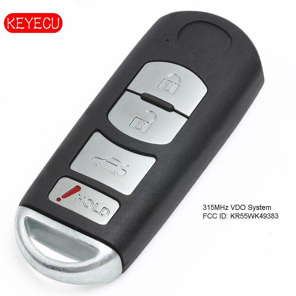 Keyecu télécommande Smart Prox clé lame non coupée insérer pousser pour démarrer 4 bouton 315 MHz pour Mazda 6 VDO système FCC: KR55WK49383