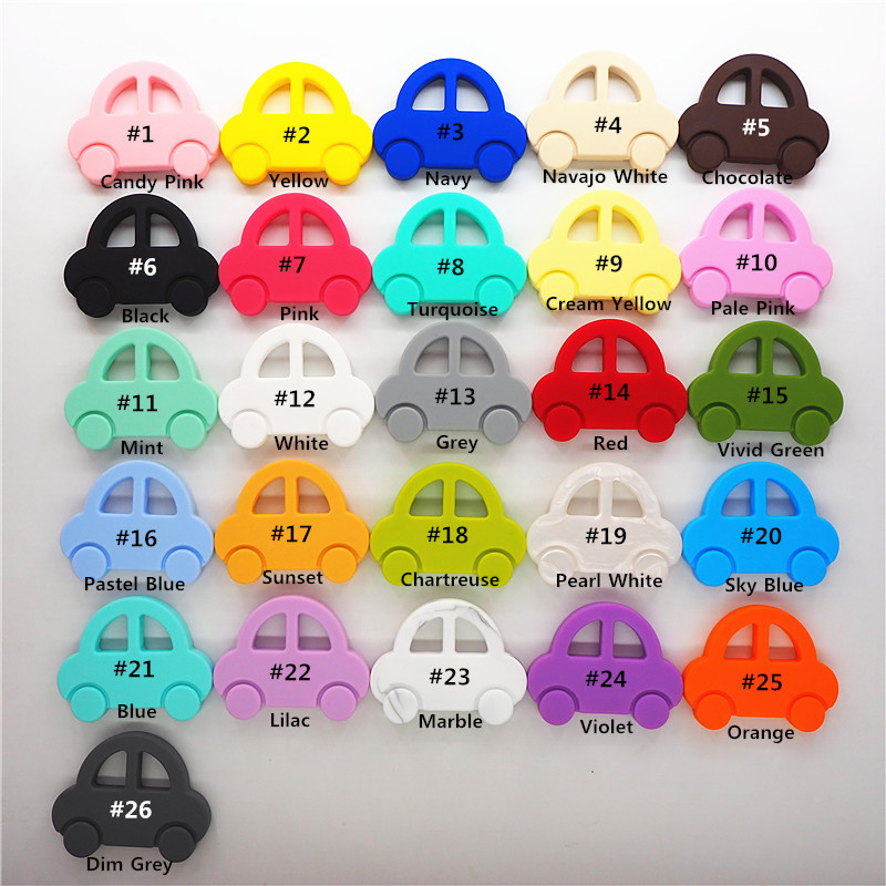 Chenkai 10PCS Silicone Car Teether BPA Free DIY Chewing Pendant Nursing Teething Jewelry Baby Pacifier Dummy Toy Gift Teether