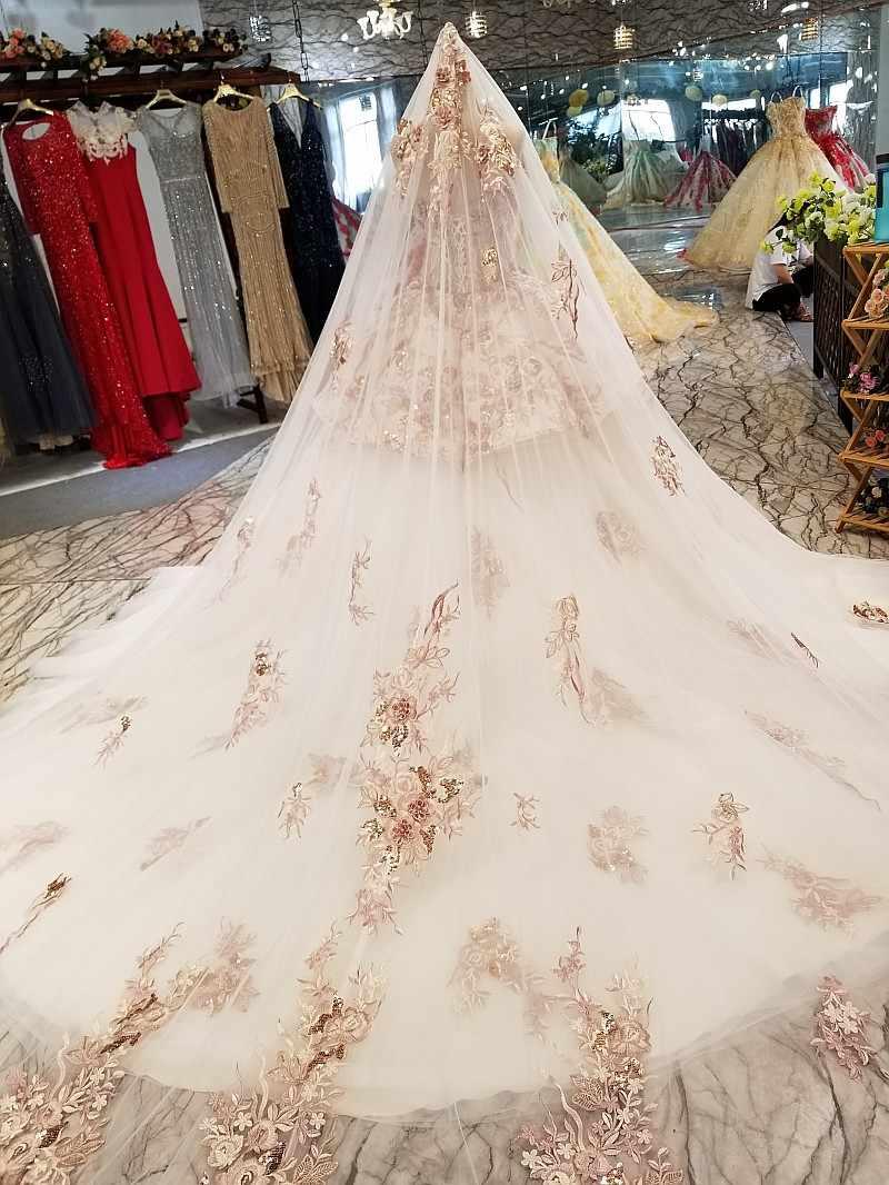 LS46548 платье люксРоскошные специальные Дубай торжественное платье Милая с плеча свадебное платье с длинной накидкой реальная цена сделано в Китае завода