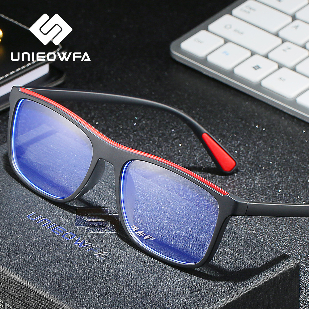 Computer Blue Light Blocking Glasses For Men Radiation Gaming Eyewear Anti Blue Ray Protection Eyeglasses Square Black TR90 2019