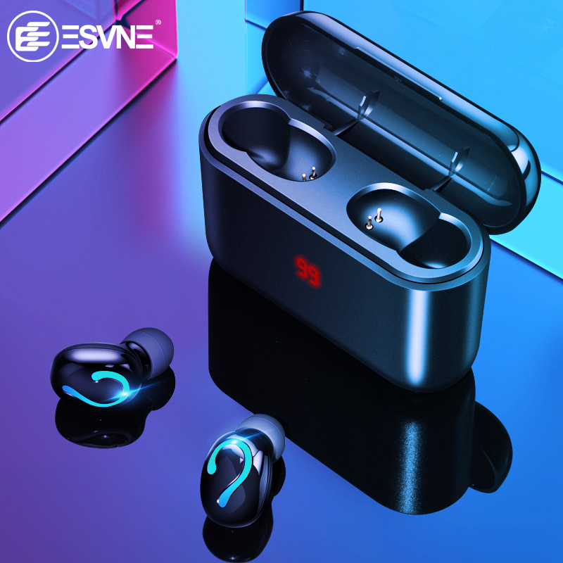 ESVNE TWS 5.0 Bluetooth Wireless Headphones Bluetooth Earphones Sport Earbuds Stereo Headset Charging Box Power Display EarPhone