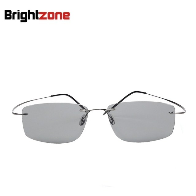 2154cad8b9 Light-weight Beta Titanium Men Women Rimless TAC Photochromic Polarized UV  Change Color Sunglasses Driving Fishing Eye Glasses