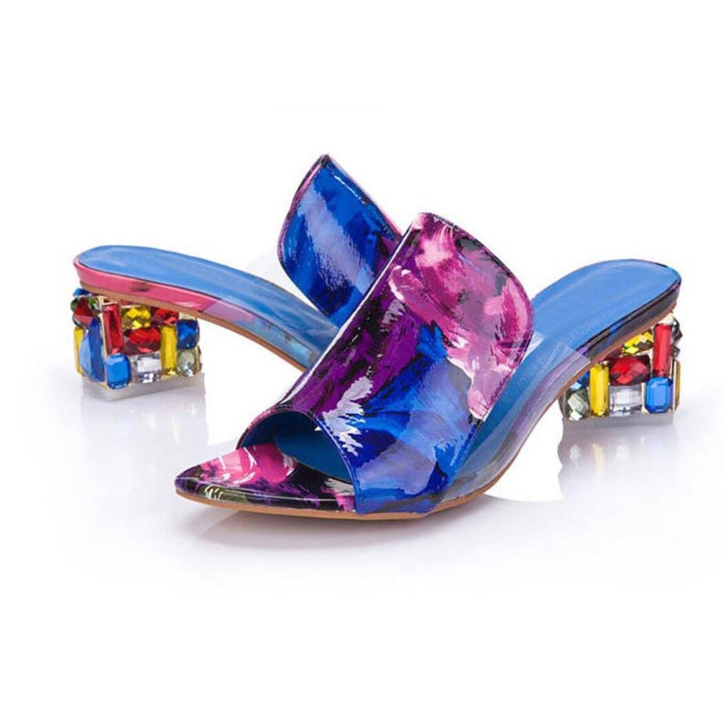 HTB1asqJmBmWBuNkSndVq6AsApXae KarinLuna 2019 brand Big size 41 elegant crystals chunky Heels Summer women's Shoes Woman Sandals leisure Shoes women slippers