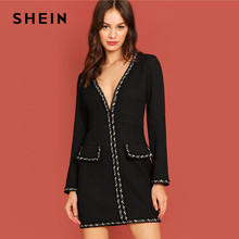 SHEIN Black Office Lady Elegant Plunging Neck Pocket Front Long Sleeve  Skinny Dress Autumn Modern Lady Workwear Women Dresses 975ae4cd93cd