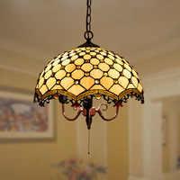 Tiffany Barock Retro Glasmalerei Anhänger Licht Restaurant Schlafzimmer Wohnzimmer Korridor Veranda Lampe Leuchte Suspendu
