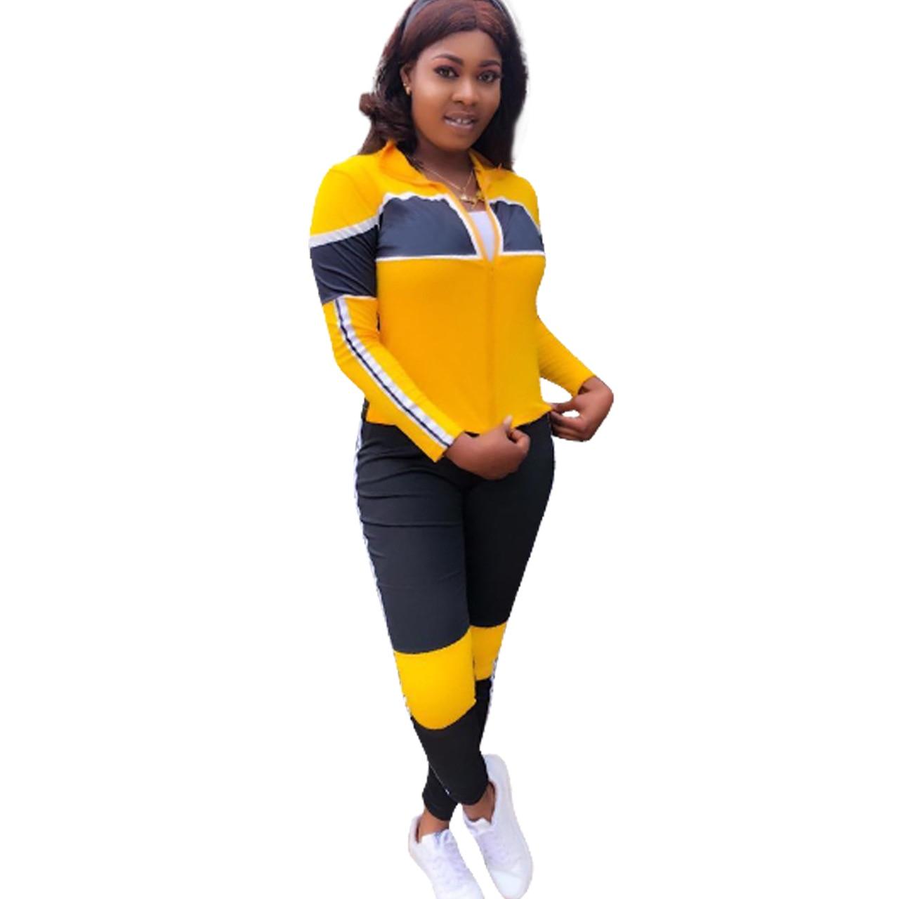 Y8038 Vestes Sportives Ensemble 2019 2 Jaune Pcs Pantalon Longs Outfit Mode Survêtement Salopette Patchwork Nouveau De Femmes Hiver Leggings wpp0t