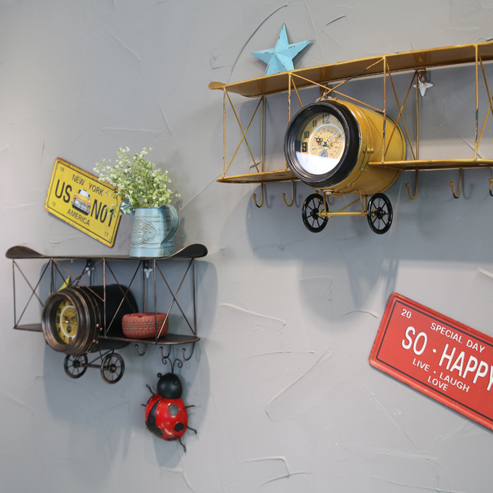 1PCS Antique old aircraft clock aircraft shape shelf wall hanging hook clock creative iron wall decoration LU628244