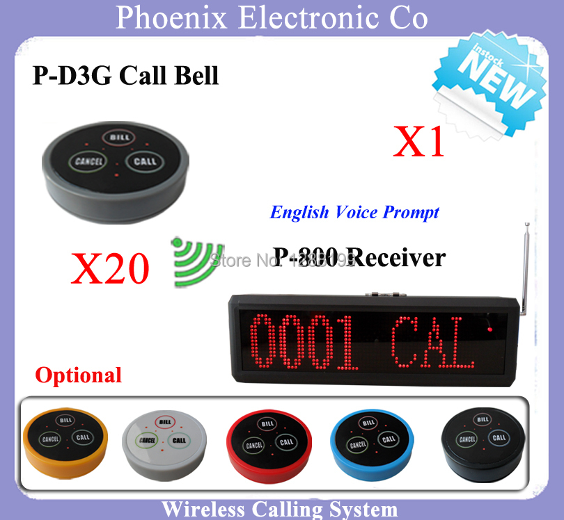 Wireless Calling System Wireless Service Calling Button Pager Including 20pcs Button Bell D3G & 1pcs Display ScreenP-800  цены