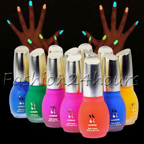 New One Bottle 15ml Fluorescent Neon Luminous Nail Polish Glow in Dark Nail Varnish, 12 Colors For Choice Free Shipping