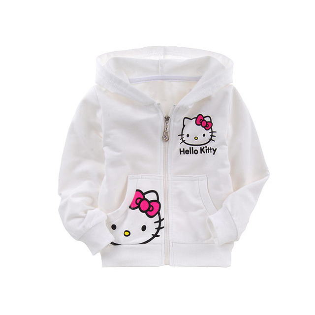 Kids Hello Kitty Coat+Pant Children's Wear Girls Clothes White Cotton Terry Suit Material KT Cartoon Cat Girls Clothing Set