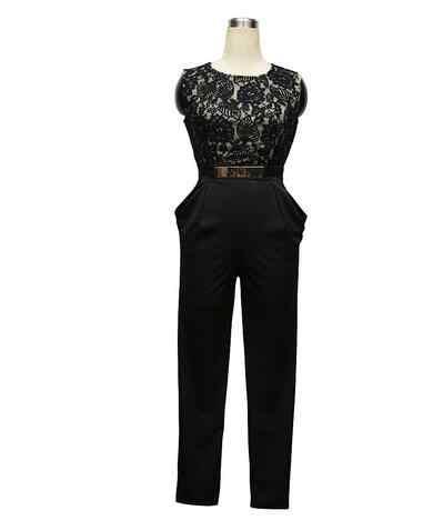 Женские деловые комбинезоны, женский черный кружевной комбинезон с длинными штанинами, летние сексуальные вечерние Облегающий комбинезон с вырезами сзади для работы DW615
