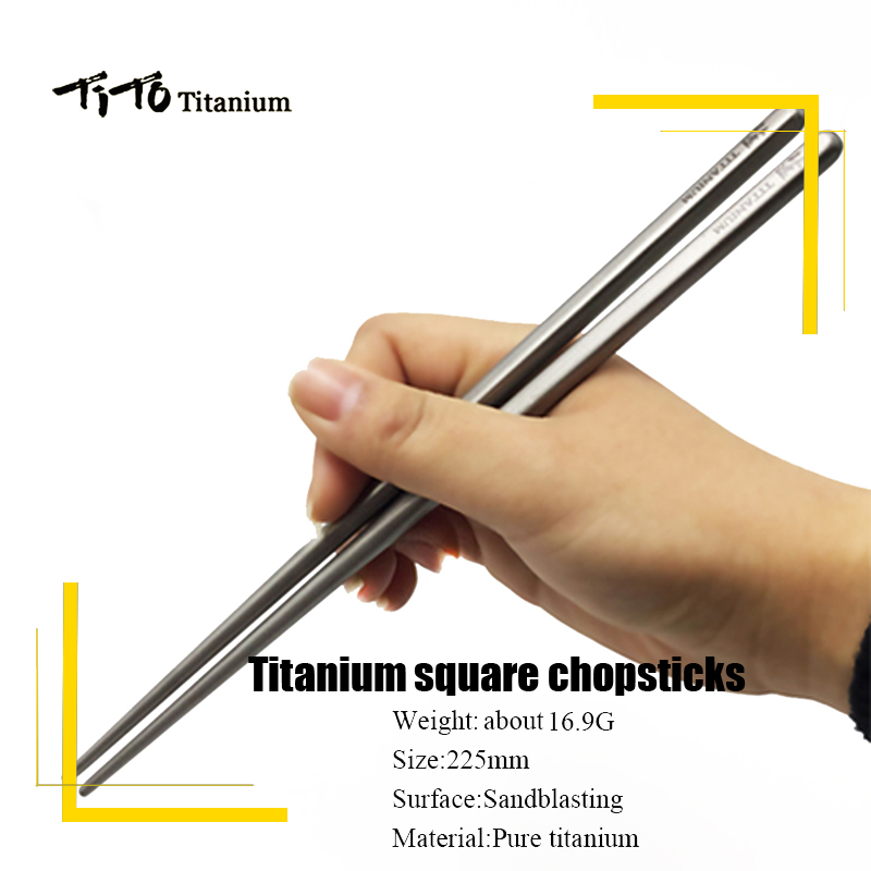 TiTo Outdoor camping tableware titanium alloy 6mm / 7mm hollow chopsticks for hiking traveling tableware Titanium chopsticks