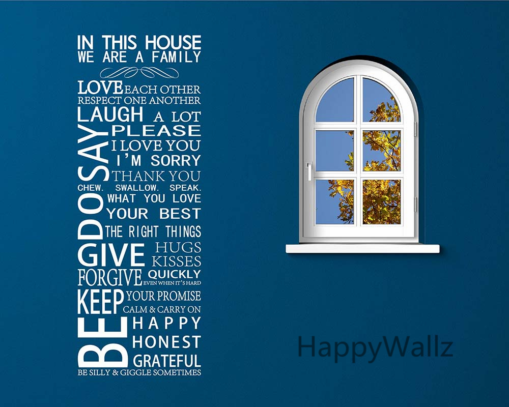 Renkli oturma gruplari 5 quotes - In This House We Are Family Quote Wall Sticker Decorating Diy Family Home Custom Colors Quote