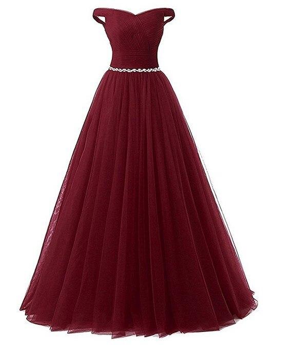 vestidos de festa Simple Off the Shoulder Beads Long   Prom     Dresses   2019 Burgundy Beads Sash Evening   Prom   Party Gowns Plus Size