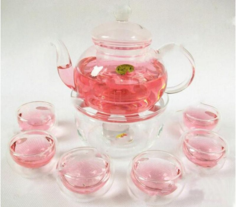 2016 1 Set Gaiwan Tea Set With 6 Cups 600ml Glass Teapot 2015 Hot Double Wall