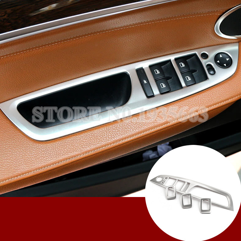 For BMW X5 E70 Inner Door Armrest Window Switch Button Cover Trim 4pcs 2008-2013