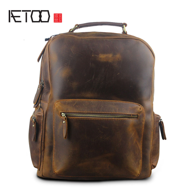 AETOO Autumn and winter new men and women Europe and the United States retro mad horse men bag bag backpacktravel europe and the united states women s new winter 2016 worn out show thin butterfly sequins loose nine points straight jeans