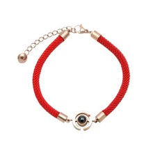Fashion Leather Bracelet Men Stainless Steel 100 Languages I Love You Memory Bracelets Italy Hand Rope Women Lover Jewelry new