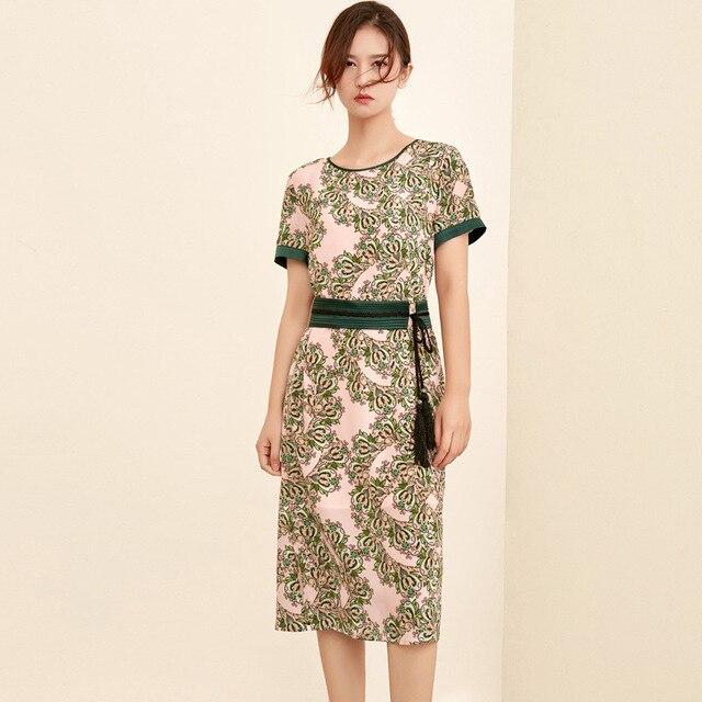 silk floral plus size summer dress women s sexy club retro beach boho dresses long 2019 pink with green flower slim fit belt