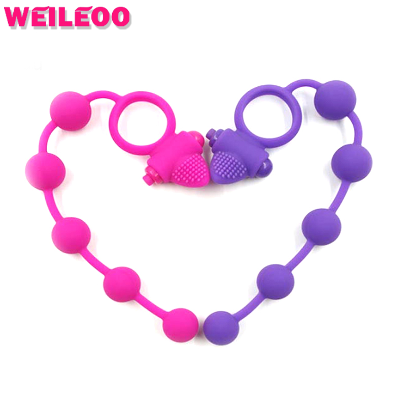bead chain silicone vibrating cock ring penis ring vibrator cockring anneau penis adult sex toys for