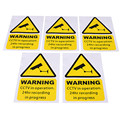 5pcs A Lot New Arrival High-end 5pcs Yellow Window Warning Stickers Signs Decal CCTV In Operation 100mm x 150mm