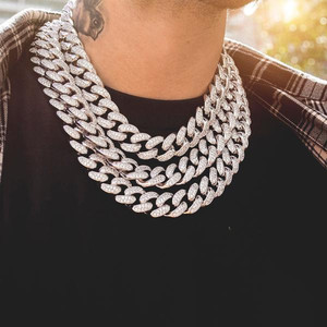 Image 1 - 2019 Men Hip hop  Iced Out Bling chain Necklace pave setting rhinestone 20mm width Miami Cuban chains necklaces Hiphop jewelry