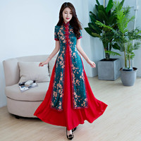 Spring Summer China Ming Dynasty national style Ao Dai dress Modern Daily Wear Vietnam women Traditional Ao Dai Cheongsam Qipao