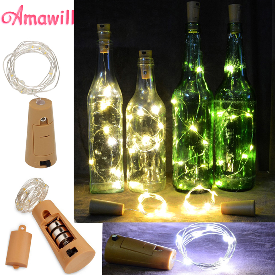 Amawill Silber Draht Copper String Licht 2 Mt 20 LED Glowing Wein ...