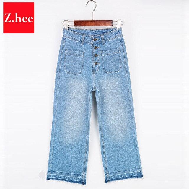 893f215ec € 22.49 |Moda bolsillos grandes pierna ancha pantalones vaqueros rectos  para las mujeres tobillo de longitud ancha pierna mujeres pantalones de ...