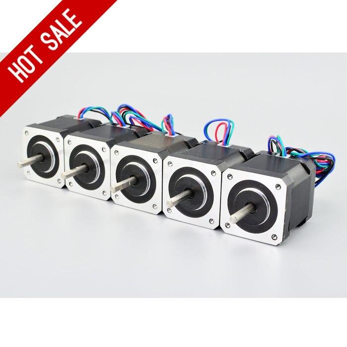 4-Lead Nema 17 Stepper Motor 5 PCS Nema 17 Motor 42BYGH 48mm 2A 1m Cable (17HS4801) Step Motor for DIY 3D Printer CNC Robot XYZ