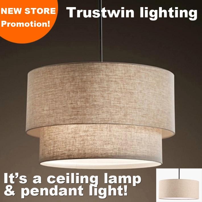 Trustwin Brand With Flax Fabric Canvas Linen Ligen Shade Drum Shape Pendant Light For Dinning Room