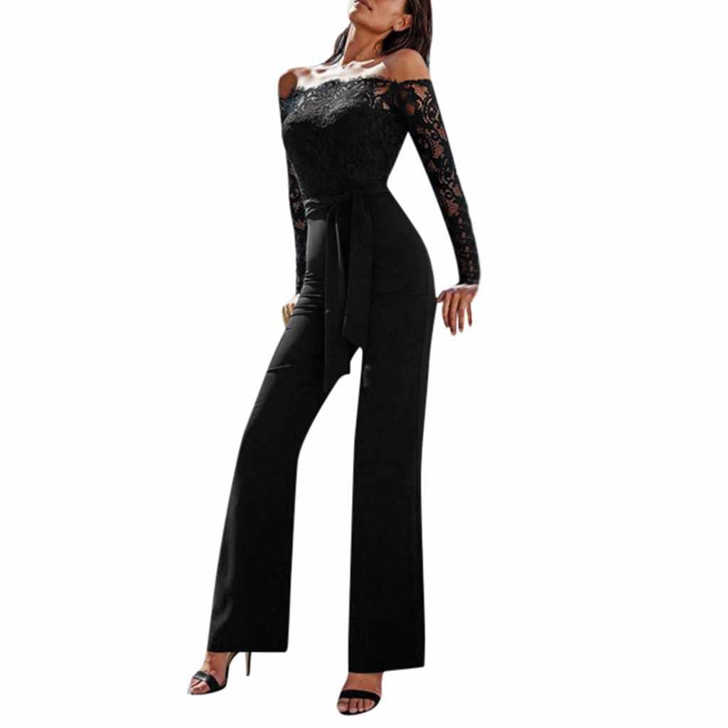 ผู้หญิงสุภาพสตรี Jumpsuit Monos Largos Mujer Pantalon Largo แขนยาว Slash คอลูกไม้ Backless Jumpsuit Elegant