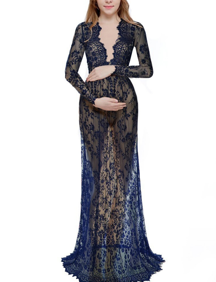 New Maternity Photography Props Pregnancy Fancy Dress Lace Robe Strapless Maxi Gown Maternity Dress Split Front Women Long Dress dark wash long denim coat jacket with hooded