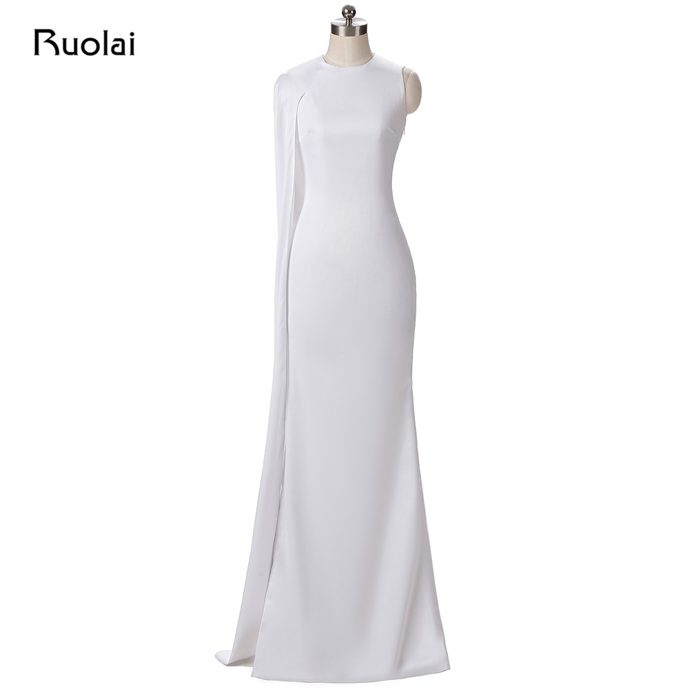 Real Photo White Prom   Dresses   Long 2017 Satin Mermaid   Evening     Dresses   with Cape Dubai Arabic   Dress   with Slit Robe de Soiree PD84