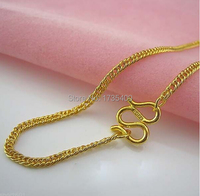 BEST 999 Solid 24K Yellow gold Necklace/ Perfect Curb chain 18L 8.5g