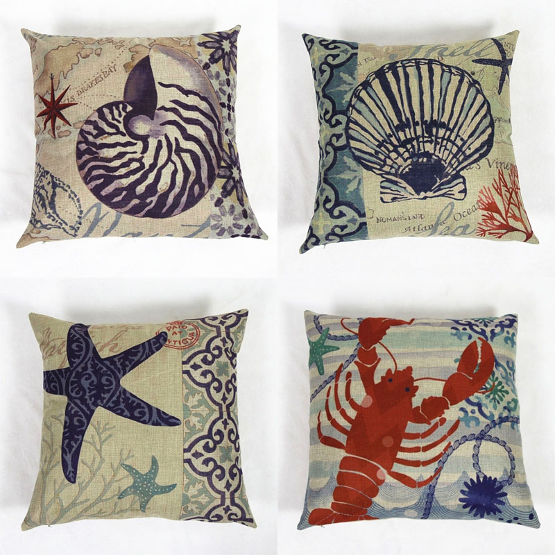 18 Ocean Beach Style Sea Animal Decorative Car Covers Cotton Linen Chair Seat Waist Square Cushion Cover Home Textile Almofadas