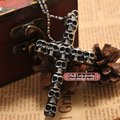 gothic style full skull head cross for men pendant necklace s.steel rock man's jewelry free shipping WP020