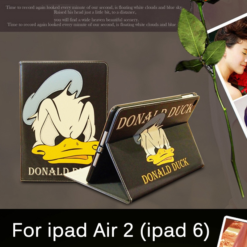 все цены на Tablet Case for Apple ipad Air 2 / ipad 6 Daisy & Donald Duck lovers style PU leather protective Cover stand shell coque para